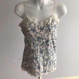 Blue and white lace cami